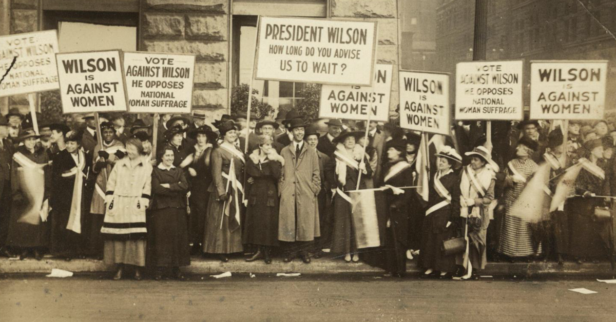 Protesters along a street in Chicago. See more photographs, letters, records and scrapbooks from suffragists in the new exhibition Shall Not Be Denied: Women Fight for the Vote at the Library of Congress.