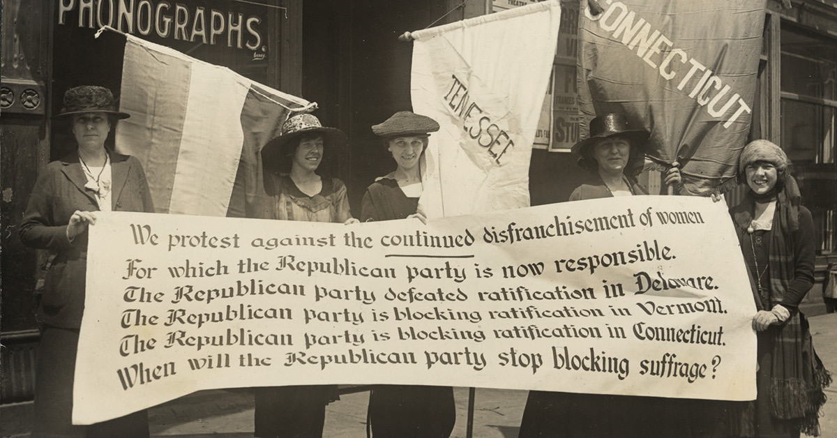 National Woman's Party members picketing the Republican convention, Chicago, June 1920. L-R Abby Scott Baker, Florence Taylor Marsh, Sue Shelton White, Elsie Hill, Betty Gram.